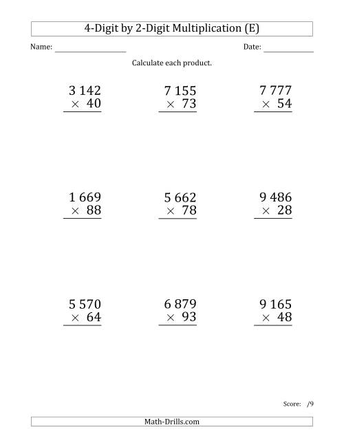 The Multiplying 4-Digit by 2-Digit Numbers (Large Print) with Space-Separated Thousands (E) Math Worksheet