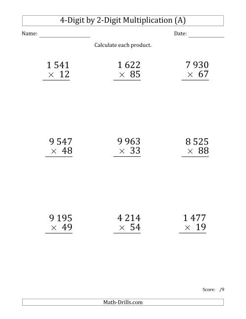 The Multiplying 4-Digit by 2-Digit Numbers (Large Print) with Space-Separated Thousands (All) Math Worksheet