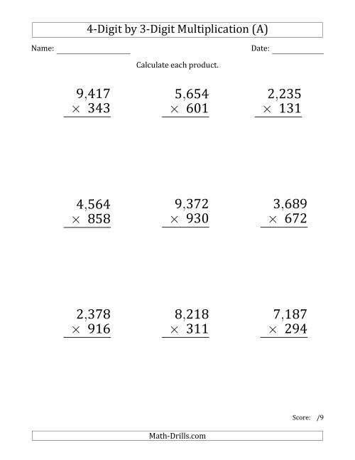 The Multiplying 4-Digit by 3-Digit Numbers (Large Print) with Comma-Separated Thousands (A) Math Worksheet