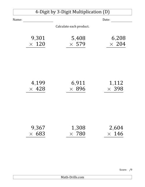 The Multiplying 4-Digit by 3-Digit Numbers (Large Print) with Comma-Separated Thousands (D) Math Worksheet