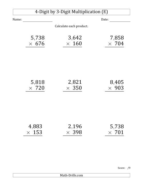 The Multiplying 4-Digit by 3-Digit Numbers (Large Print) with Comma-Separated Thousands (E) Math Worksheet