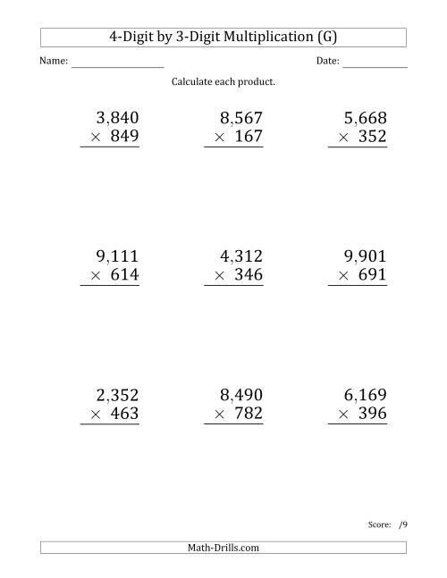 The Multiplying 4-Digit by 3-Digit Numbers (Large Print) with Comma-Separated Thousands (G) Math Worksheet