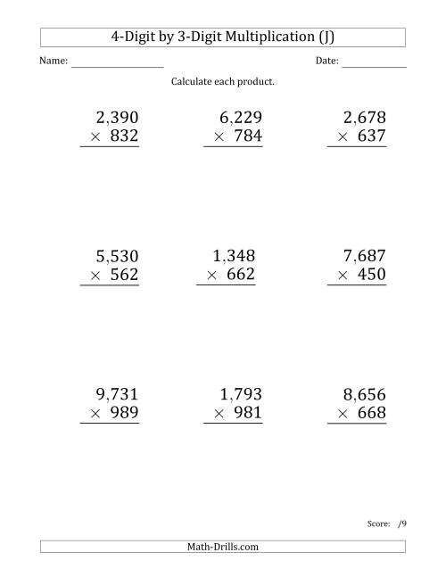 The Multiplying 4-Digit by 3-Digit Numbers (Large Print) with Comma-Separated Thousands (J) Math Worksheet