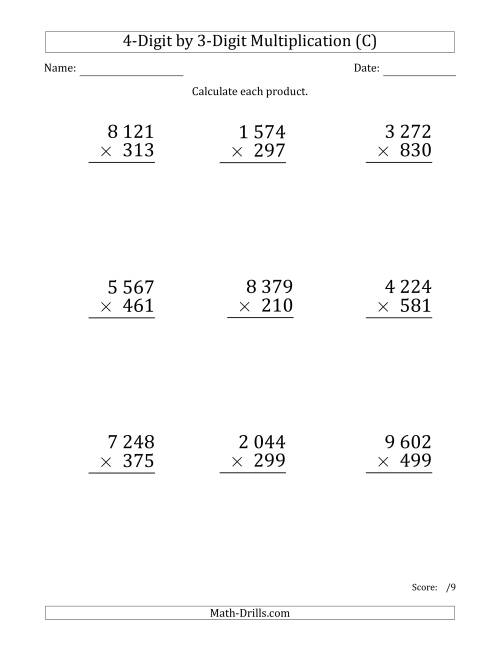 The Multiplying 4-Digit by 3-Digit Numbers (Large Print) with Space-Separated Thousands (C) Math Worksheet