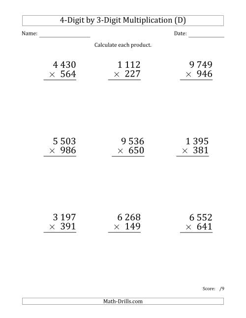 The Multiplying 4-Digit by 3-Digit Numbers (Large Print) with Space-Separated Thousands (D) Math Worksheet