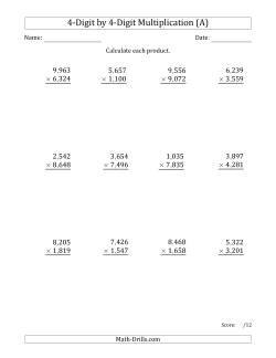 4-Digit by 4-Digit Multiplication (A)