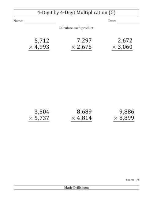 The Multiplying 4-Digit by 4-Digit Numbers (Large Print) with Comma-Separated Thousands (G) Math Worksheet