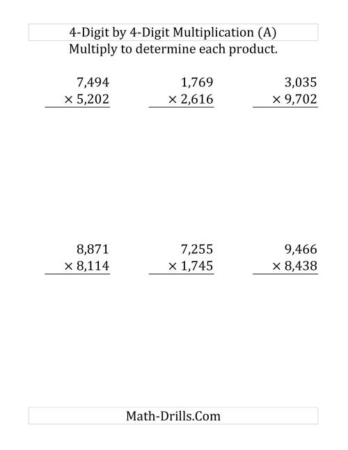 The Multiplying a 4-Digit Number by a 4-Digit Number (Large Print) (Old) Math Worksheet