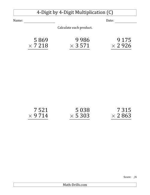 The Multiplying 4-Digit by 4-Digit Numbers (Large Print) with Space-Separated Thousands (C) Math Worksheet