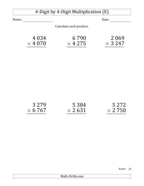 The Multiplying 4-Digit by 4-Digit Numbers (Large Print) with Space-Separated Thousands (E) Math Worksheet