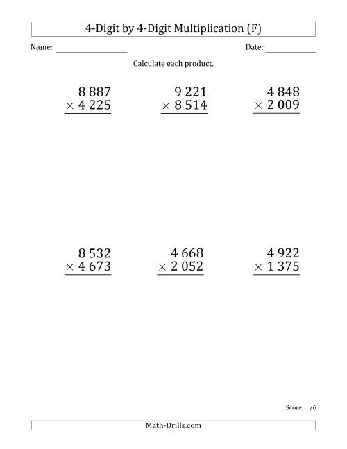 The Multiplying 4-Digit by 4-Digit Numbers (Large Print) with Space-Separated Thousands (F) Math Worksheet
