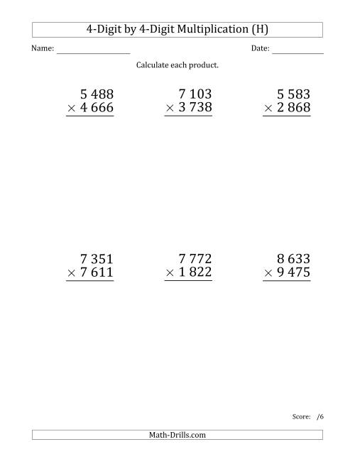 The Multiplying 4-Digit by 4-Digit Numbers (Large Print) with Space-Separated Thousands (H) Math Worksheet