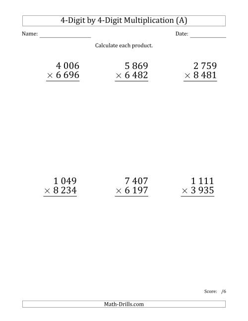 The Multiplying 4-Digit by 4-Digit Numbers (Large Print) with Space-Separated Thousands (All) Math Worksheet