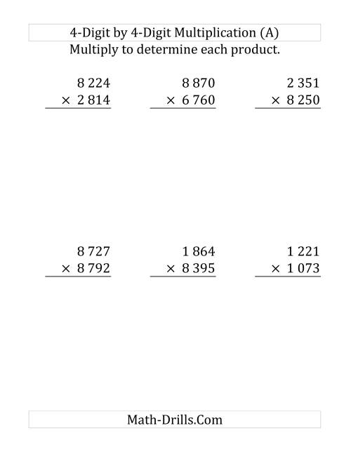The Multiplying a 4-Digit Number by a 4-Digit Number (Large Print and SI Number Format) (Old) Math Worksheet