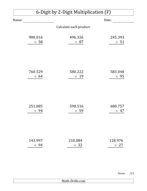 The Multiplying 6-Digit by 2-Digit Numbers with Comma-Separated Thousands (F) Math Worksheet