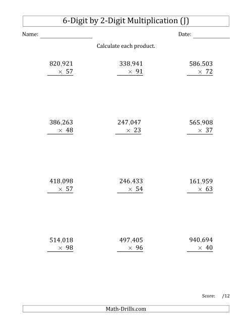 The Multiplying 6-Digit by 2-Digit Numbers with Comma-Separated Thousands (J) Math Worksheet