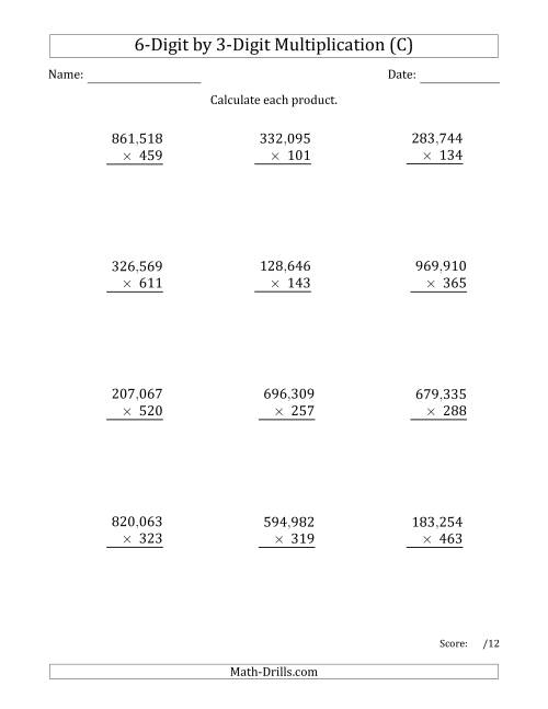 The Multiplying 6-Digit by 3-Digit Numbers with Comma-Separated Thousands (C) Math Worksheet