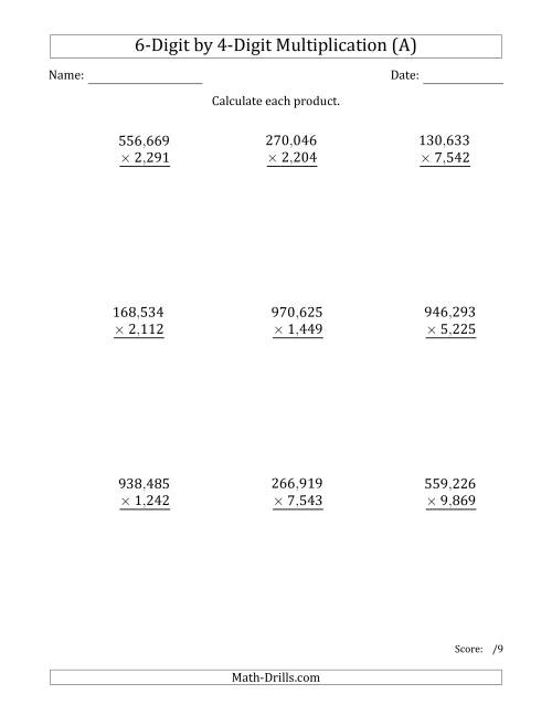 The Multiplying 6-Digit by 4-Digit Numbers with Comma-Separated Thousands (A) Long Multiplication Worksheet