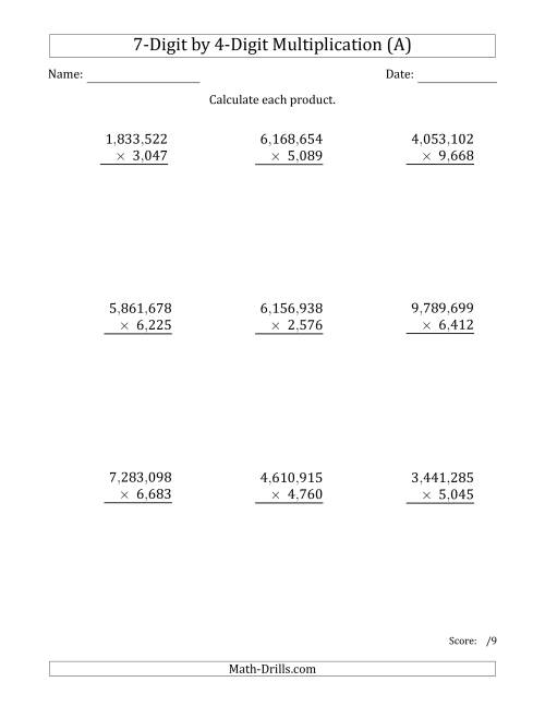 The Multiplying 7-Digit by 4-Digit Numbers with Comma-Separated Thousands (A) Math Worksheet
