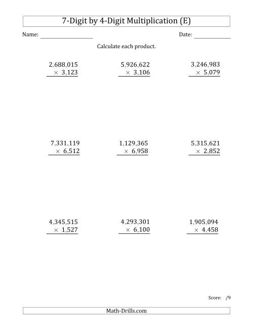 The Multiplying 7-Digit by 4-Digit Numbers with Comma-Separated Thousands (E) Math Worksheet