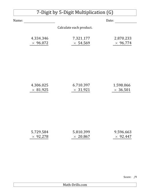 The Multiplying 7-Digit by 5-Digit Numbers with Comma-Separated Thousands (G) Math Worksheet