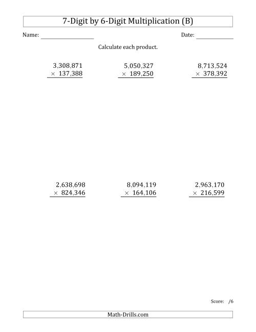 The Multiplying 7-Digit by 6-Digit Numbers with Comma-Separated Thousands (B) Math Worksheet