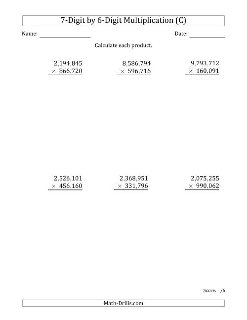 The Multiplying 7-Digit by 6-Digit Numbers with Comma-Separated Thousands (C) Math Worksheet
