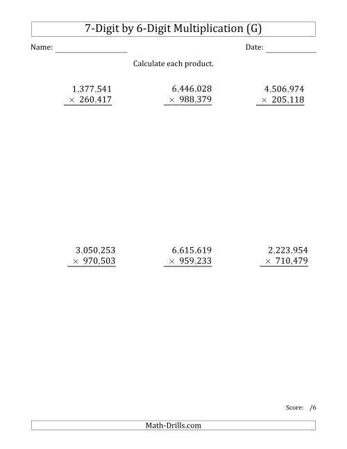 The Multiplying 7-Digit by 6-Digit Numbers with Comma-Separated Thousands (G) Math Worksheet