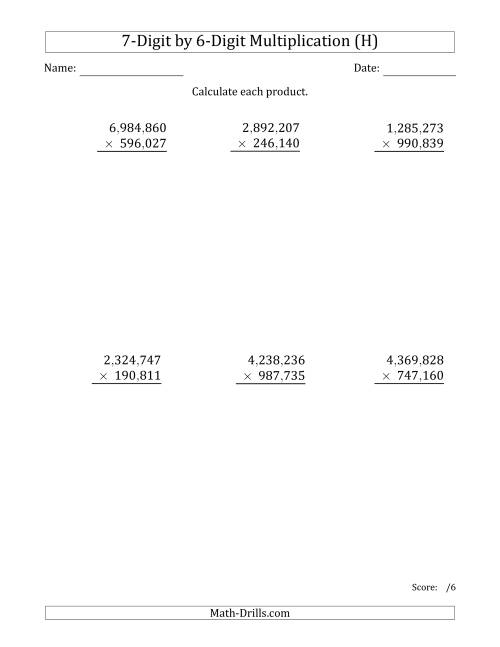 The Multiplying 7-Digit by 6-Digit Numbers with Comma-Separated Thousands (H) Math Worksheet