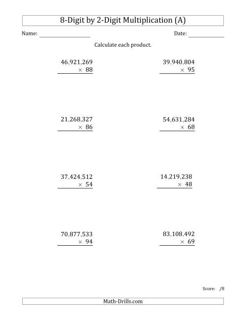 The Multiplying 8-Digit by 2-Digit Numbers with Comma-Separated Thousands (A) Math Worksheet