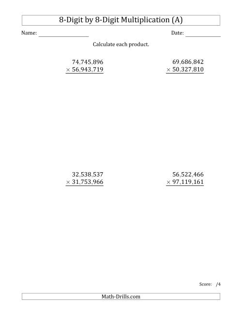 The Multiplying 8-Digit by 8-Digit Numbers with Comma-Separated Thousands (A) Math Worksheet