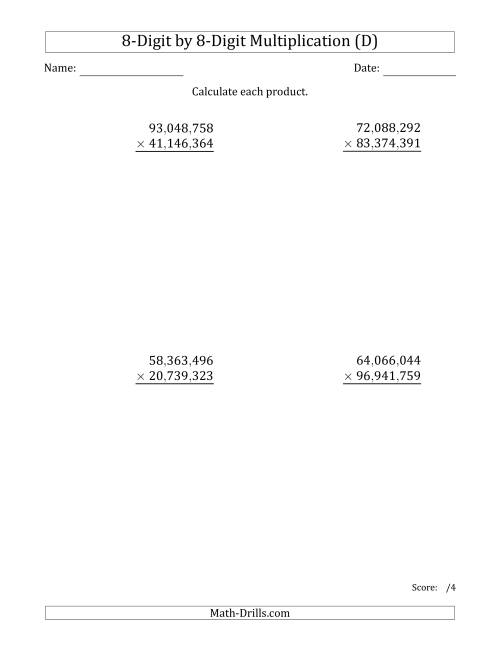 The Multiplying 8-Digit by 8-Digit Numbers with Comma-Separated Thousands (D) Math Worksheet