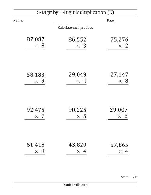 The Multiplying 5-Digit by 1-Digit Numbers (Large Print) with Comma-Separated Thousands (E) Math Worksheet