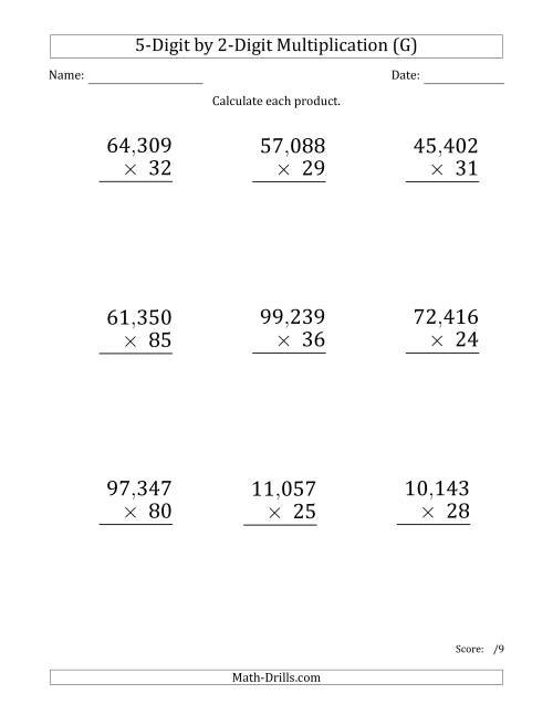 The Multiplying 5-Digit by 2-Digit Numbers (Large Print) with Comma-Separated Thousands (G) Math Worksheet