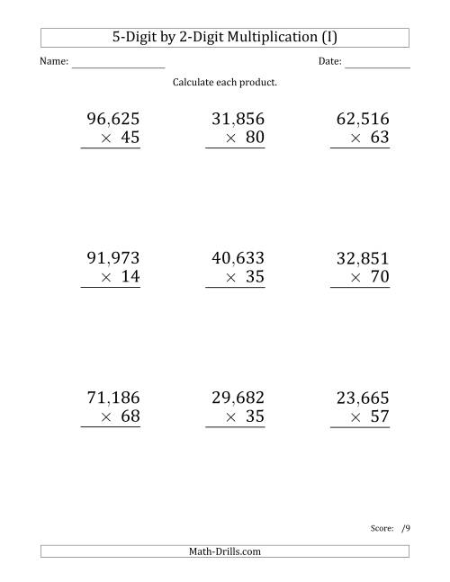 The Multiplying 5-Digit by 2-Digit Numbers (Large Print) with Comma-Separated Thousands (I) Math Worksheet