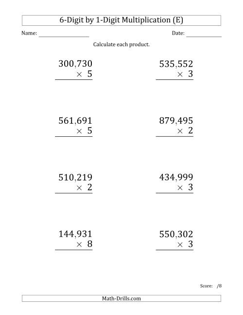 The Multiplying 6-Digit by 1-Digit Numbers (Large Print) with Comma-Separated Thousands (E) Math Worksheet