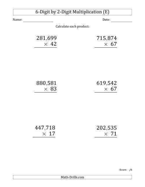 The Multiplying 6-Digit by 2-Digit Numbers (Large Print) with Comma-Separated Thousands (E) Math Worksheet