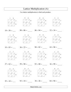 Various Digit Lattice Multiplication Worksheets With Lattices Included
