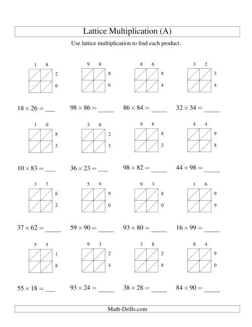 The 2-Digit by 2-Digit Lattice Multiplication (A) Math Worksheet