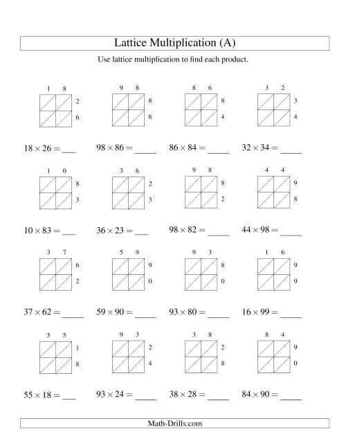 2 digit by 2 digit lattice multiplication a long multiplication worksheet. Black Bedroom Furniture Sets. Home Design Ideas