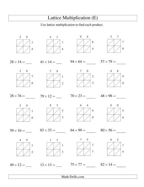 2-Digit by 2-Digit Lattice Multiplication (E) Long ...
