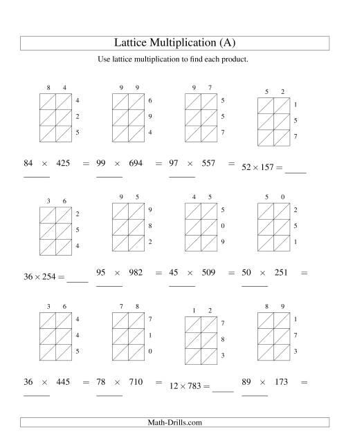 2Digit by 3Digit Lattice Multiplication A – Multiplication Worksheets 3 Digit by 2 Digit