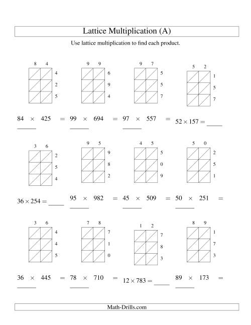 The 2-Digit by 3-Digit Lattice Multiplication (A) Math Worksheet