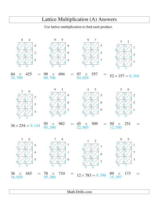 The 2-Digit by 3-Digit Lattice Multiplication (A) Math Worksheet Page 2
