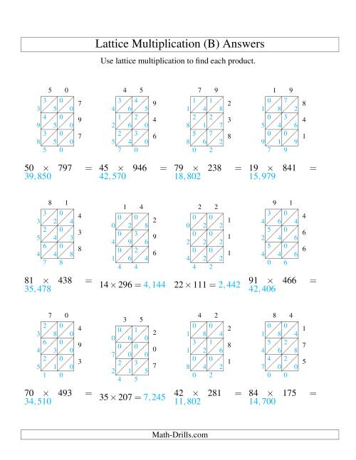 The 2-Digit by 3-Digit Lattice Multiplication (B) Math Worksheet Page 2