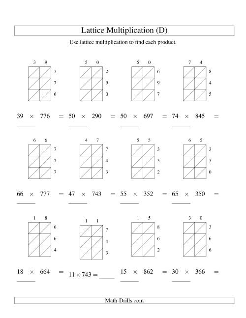 The 2-Digit by 3-Digit Lattice Multiplication (D) Math Worksheet
