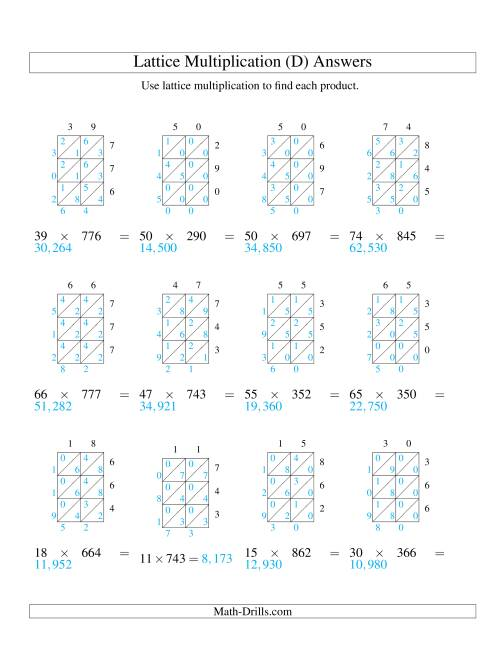 The 2-Digit by 3-Digit Lattice Multiplication (D) Math Worksheet Page 2