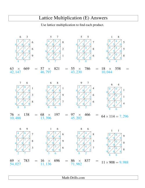 The 2-Digit by 3-Digit Lattice Multiplication (E) Math Worksheet Page 2