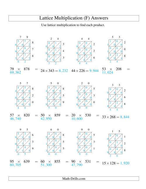 The 2-Digit by 3-Digit Lattice Multiplication (F) Math Worksheet Page 2
