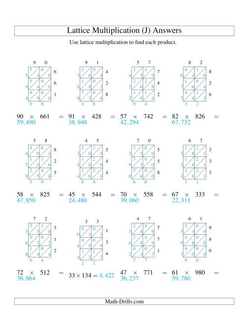 The 2-Digit by 3-Digit Lattice Multiplication (J) Math Worksheet Page 2